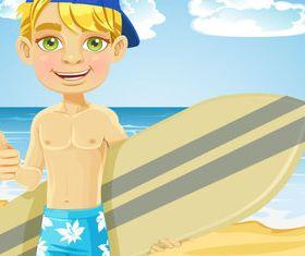 Summer beach travel 5 set vector