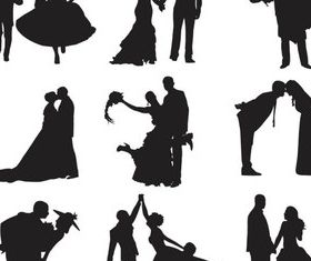 Bride and groom silhouettes 1 set vector