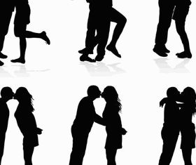 Bride and groom silhouettes 2 set vector