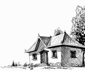 Sketch buildings free 5 vectors