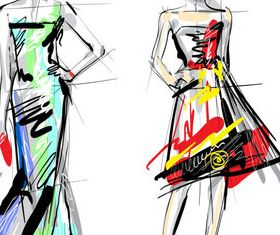 Hand drawn fashionable dress 1 vectors
