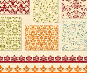 Vintage floral pattern and border set vector