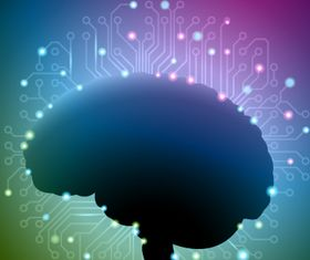 Brain with Technology elements set vector
