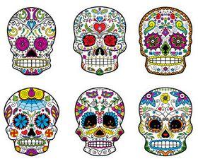 Floral Skull 8 set creative vector
