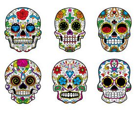 Floral Skull 9 set creative vector
