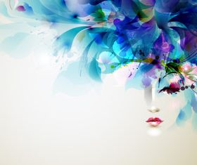 Abstract Floral with Girl vector design