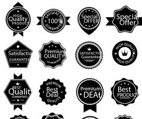 White and Black Sale labels vector