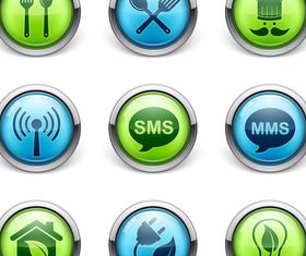 Dining and SMS with Green icons vector