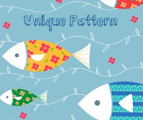 Cute Cartoon Fish pattern vector