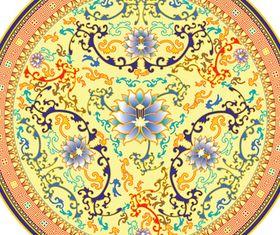 Retro Decorative pattern Porcelain plates vector
