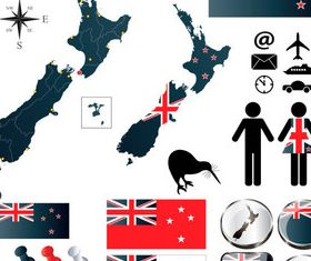 New Zealand elements vector graphics