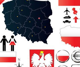 Poland elements set vector