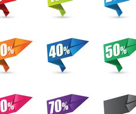 Color Origami sale labels 1 vector