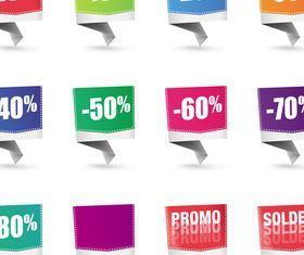 Color Origami sale labels 2 vector