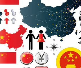 Chinelements set vector