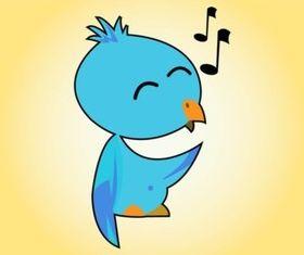 Cute Singing Bird design vectors