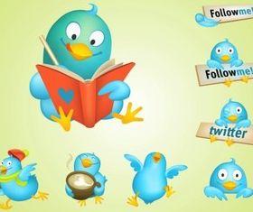 Cool Twitter Birds vector graphics