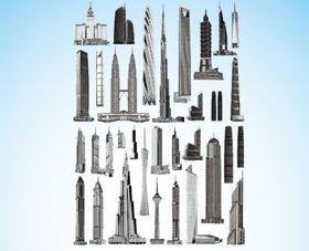Different Skyscrapers design elements vector