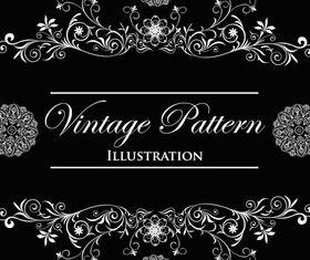 Vintage pattern background art set vector