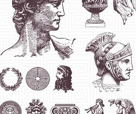 Draw Roman style vector set
