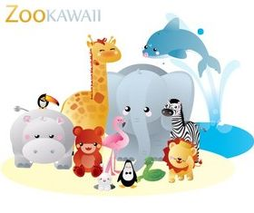 Cartoon Zoo kawaii vector