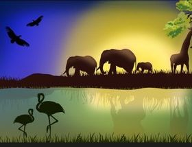 Nature with Animal vector set