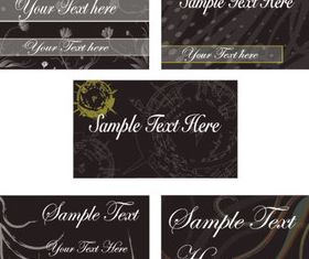 Floral Abstract Cards templete 3 vectors