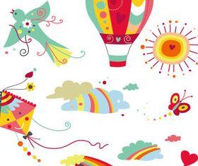 Different cartoon design elements vector