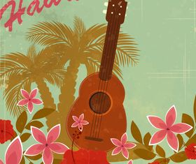 Romantic Hawaii background vector