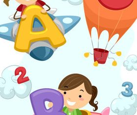 Cute Child and Alphabet 2 vector