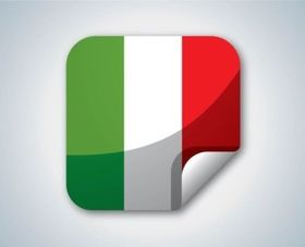 Italy Flag Button vector set