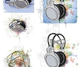 Headset design elements vectors