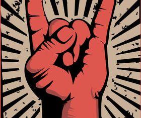 Rock gesture vector