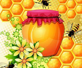 Bee with Honey 1 vector