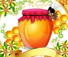 Bee with Honey 2 vector