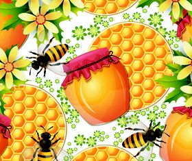Bee with Honey 4 vector