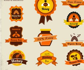Honey bee labels vectors graphic