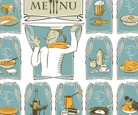 Funny chef with menu set vector
