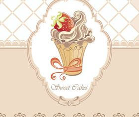 Sweet cakes with Floral background set vector