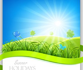 Green grass with sun background vector
