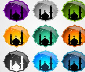 Glass Mosque labels vector