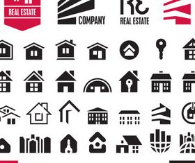 Houses Black icons vector graphics