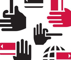 Red and Black hand icons vector graphic