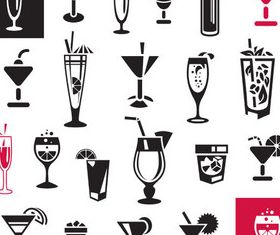 Drinks black icons vectors graphic