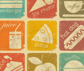 Old food labels vector design