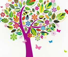 Colorful floral tree vector