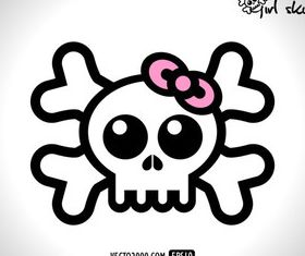 Skull with Bow vector