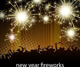 Party and Fireworks background vector material