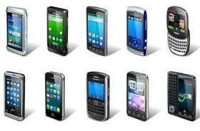 Different intelligent mobile phone design vector