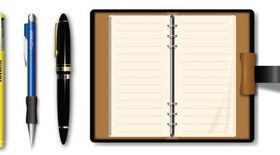 Pen with notebook design vectors